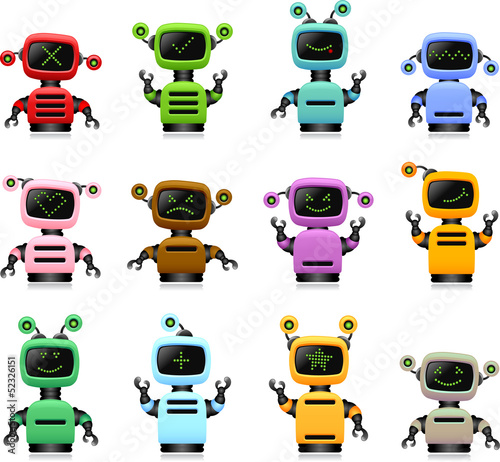 colorful cute robots set
