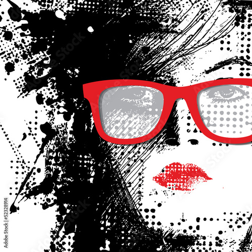 Door stickers Woman face Women in sunglasses