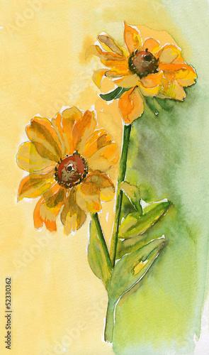 akwarela-zolte-kwiaty-slonecznika-na-zolto-zielonym-tle