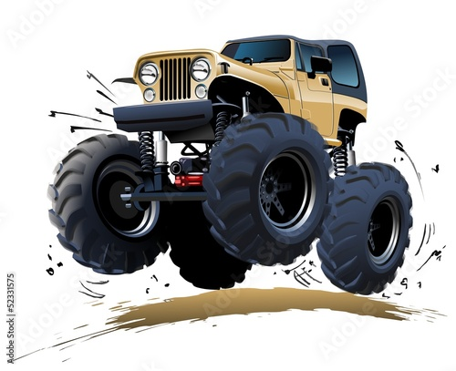 Deurstickers Cartoon cars Cartoon Monster Truck