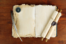 Open Old Book, Scrolls And Com...