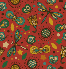 Colorful floral pattern with flowers, dragonflies