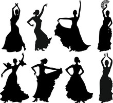 Eight Silhouettes Of Flamenco ...