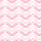 Vector Pink lineart leaves chevron seamless pattern background