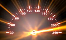 Speedometer On Blaze Background