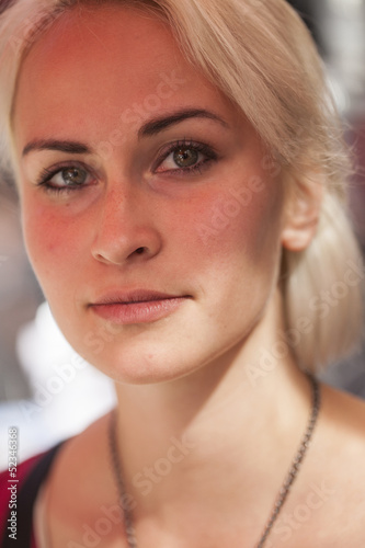 Fototapeta Beautiful Young Woman with Blond Hair and Green Eyes obraz na płótnie