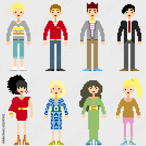 Photo sur Toile Pixel Fashion Pixel People