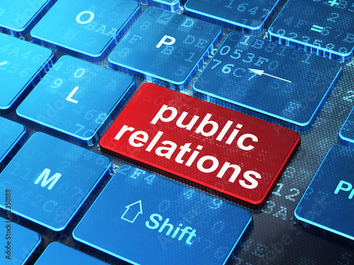 Foto  Marketing concept: Public Relations on computer keyboard backgro