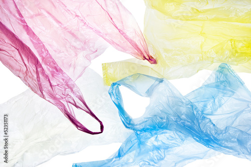 Fotografía  plastic bags background, clipping path included