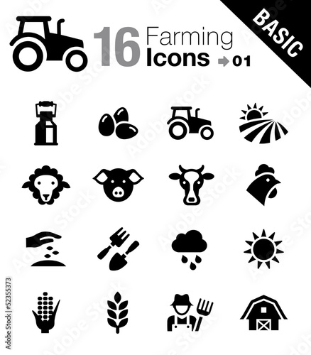 Basic - Agriculture and Farming icons Wallpaper Mural