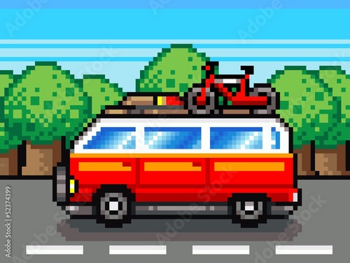 In de dag Pixel car going for summer holiday trip - retro pixel illustration