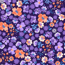 Purple Cute Ditsy Floral ~ Seamless Background