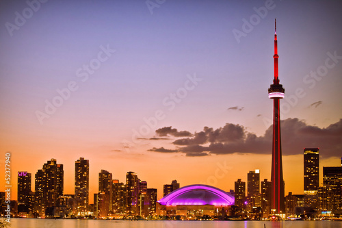 View of Toronto cityscape during sunset Poster