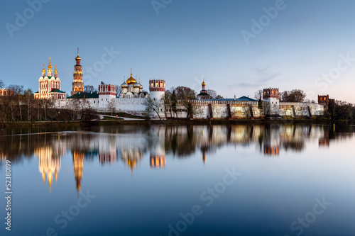 Poster Moscow Stunning View of Novodevichy Convent in the Evening, Moscow, Rus