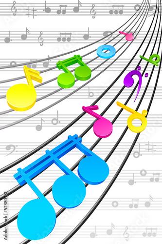 ilustracji-wektorowych-notatek-na-sznurku-w-tle-muzycznym