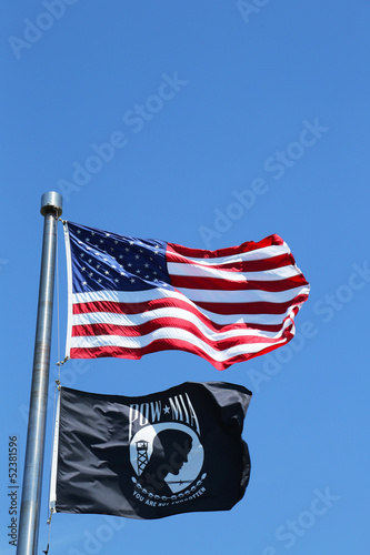Photo  American and POW/MIA flags