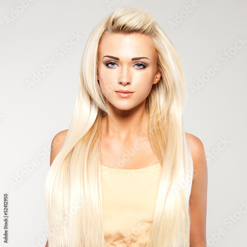 Blond woman with long straight hair Poster