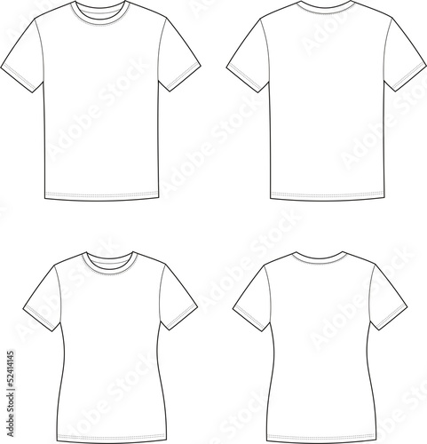Stampa su Tela Vector illustration of men's and women's t-shirts