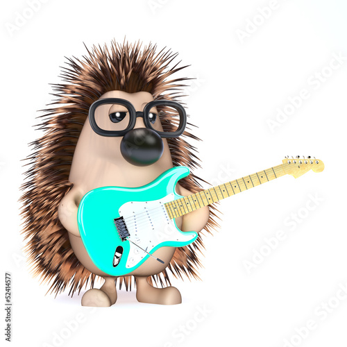 Garden Poster Sweet Monsters Cute hedgehog plays the blues