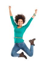 Woman Jumping In Joy