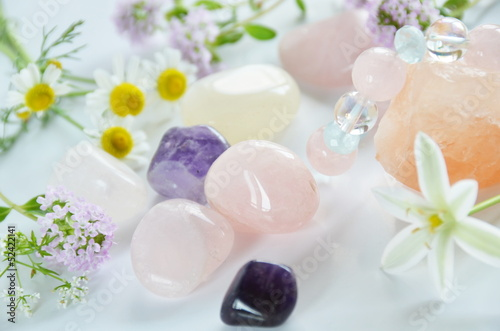 Fotografie, Obraz  gemstones with herbs