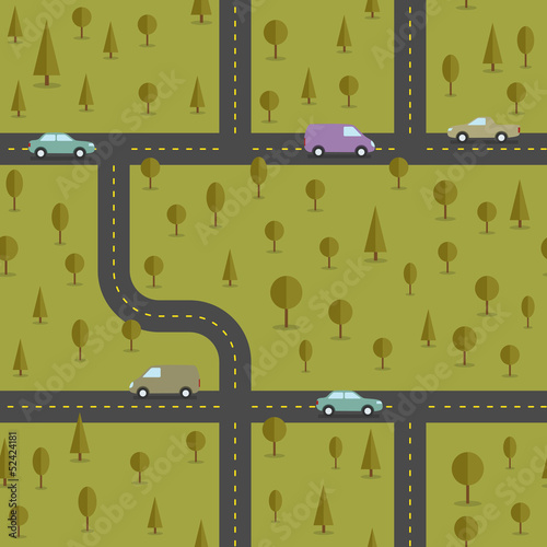 Poster de jardin Route Abstract forest seamless pattern. Vector illustration.