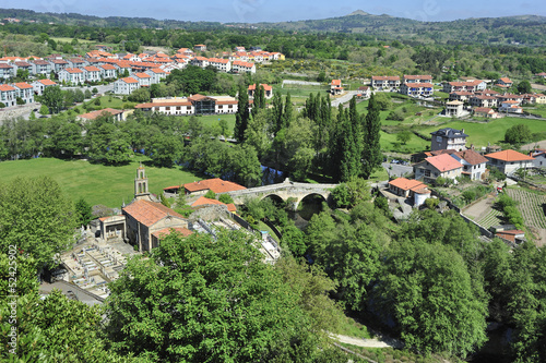 Galician countryside. Allariz Valley and town of Orense. Panoram