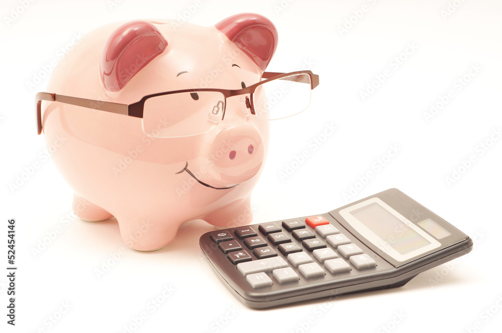 Fototapety, obrazy: Pink Piggy Bank With Calculator