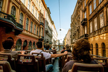 Sightseeing Bus On Budapest Streets