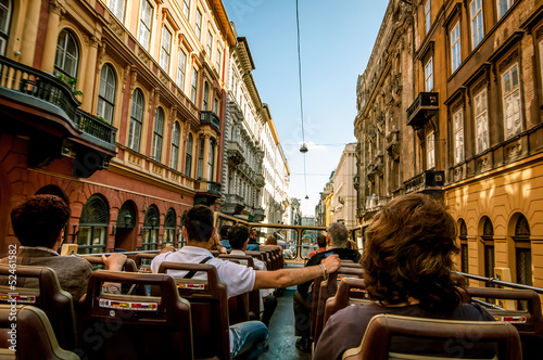 Photo  Sightseeing bus on Budapest streets