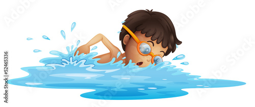 A young boy swimming with a yellow goggles Fototapeta