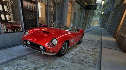 Fototapetaroter italienischer Sportwagen in einer engen Gasse