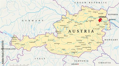 Fotografie, Tablou Austria Map ( Österreich Landkarte )
