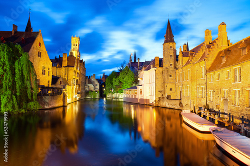 In de dag Brugge Famous view of Bruges at night