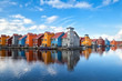 canvas print picture - Reitdiephaven - colorful buildings on water