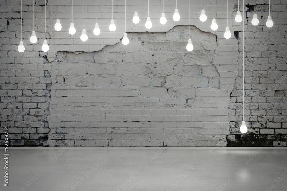 Fototapeta old brick wall and bulbs