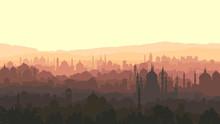 Horizontal Illustration Of Big Arab City At Sunset.