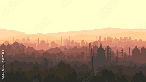 Horizontal illustration of big arab city at sunset. Wallpaper Mural