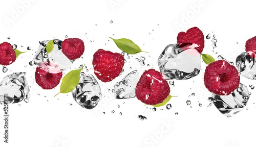 Keuken foto achterwand In het ijs Ice fruit on white background