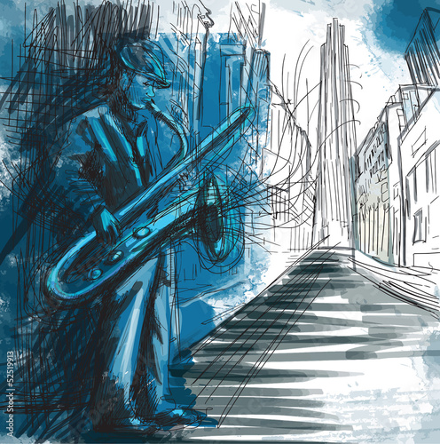 sax player (hand drawing converted into vector) Fototapeta