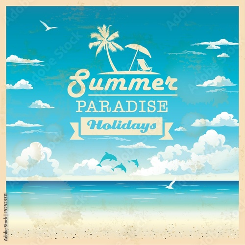 Summer beach vector background in retro style Poster