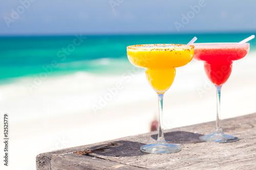Fotografie, Obraz  two perfect mango and strawberry margarita, beach background