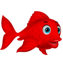 Cute Red Fish Cartoon