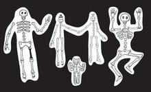 Skeletons On Black Background