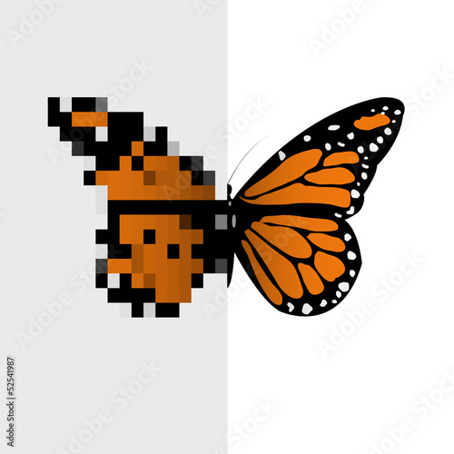 Photo sur Toile Pixel Vector Pixel Art Butterfly