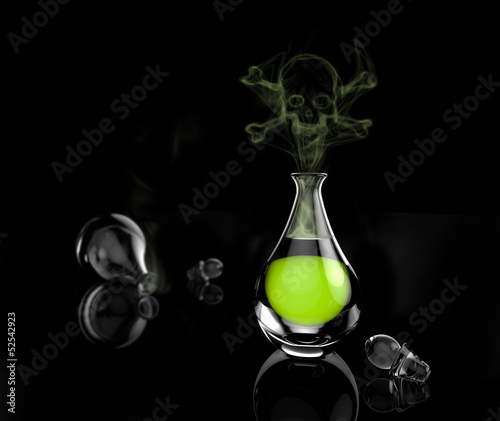 Fotografia, Obraz A bottle of green poison with a skull and fumes