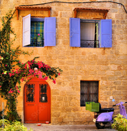 Fototapeta Stone house in the Old Town of Rhodes, Greece