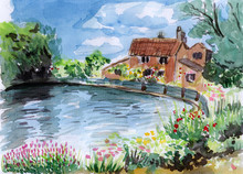 Watercolor River Bank House