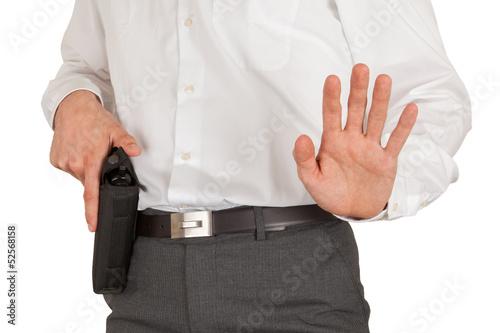 Photo  Secret service agent with a gun