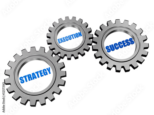 Fotografía  strategy, execution, success in silver grey gears